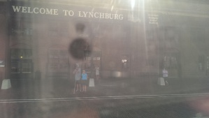 Dropping Kyle off in Lynchburg. I'm way off to the right of the picture, leaning against the pole.